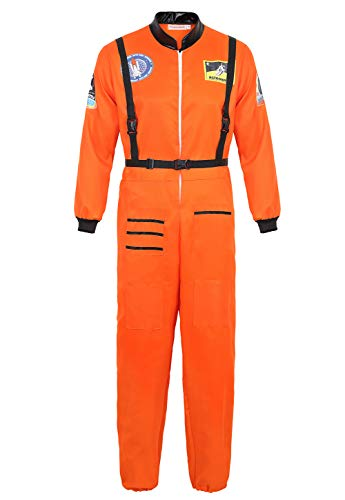AOLAIYAOQU Men's Astronaut Costume Spaceman Jumpsuit Halloween Flight Suit Costumes Adult Fancy Role Play Orange L -