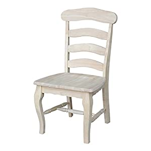 International Concepts C 219P Country French Chair With Solid Seat,  Unfinished