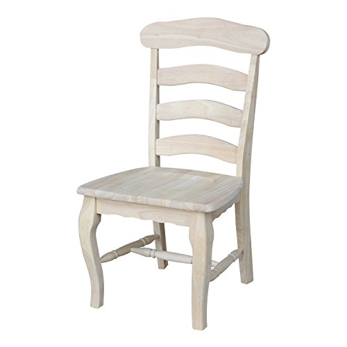 International Concepts C-219P Country French Chair with Solid Seat, Unfinished ()