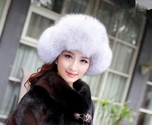 Gegefur New Womens Genuine Fox Fur Hat Warm Ski Hats for Winter