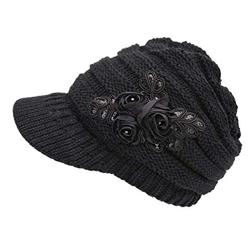 (NYKKOLA Women Cable Knit Winter Warm Beanie Hats Newsboy Cap Visor with Sequined Flower - Black)