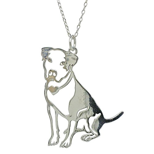 Polished 925 Sterling Silver Pitbull American Staffordshire Terrier Necklace, 18 in chain
