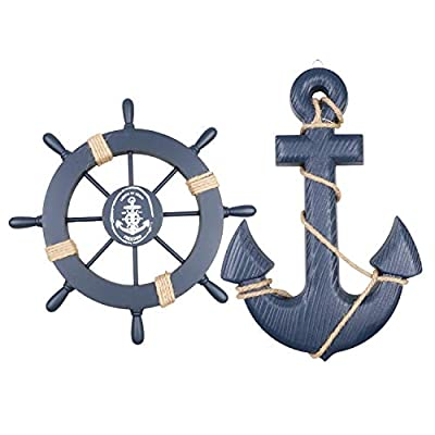 "Meching 2 Pack 11"" Nautical Beach Wooden Ship Wheel and 13"" Wood Anchor with Rope Nautical Boat Steering Rudder Wall Decor Door Hanging Ornament Beach Theme Home Decoration(Dark Blue) - Include an wood wheel and an wooden anchor Material: Handcrafted with high quality Wood and just rope.wheel Size: 28 * 28cm/ 11 * 11 inch(L * W); Anchor Size: 7.7*11 inch/ 19.5*33cm((L * W).Thickness:15mm,very sturdy. Great gift for those who love sailing and nautical wall art. A perfect nautical wall hanging decor to accent your home with other Mediterranean ornaments like fishing net,sea shells,wood lighthouse,nautical chairs,ect. - living-room-decor, living-room, home-decor - 41nD%2BJ3mX%2BL. SS400  -"