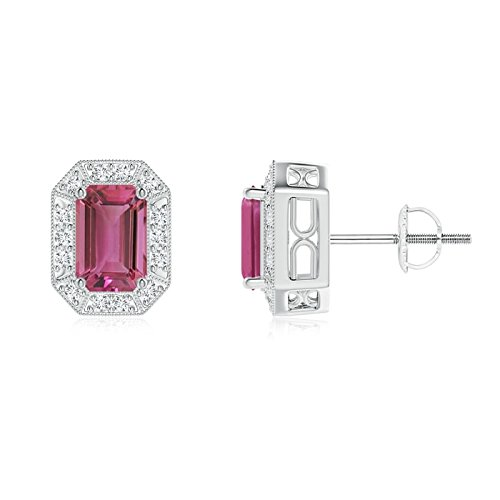 Earring Cut Tourmaline Pink Emerald (Emerald-Cut Pink Tourmaline and Diamond Halo Stud Earrings in Platinum (6x4mm Pink Tourmaline))