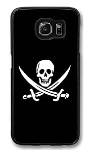 S6 Case, Jolly Roger Pirate Skull Black And White Ideas Ultra Fit Black Bumper Shockproof Case For Galaxy S6 Customizable Hard PC Samsung Galaxy S6