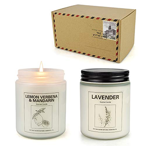 Lavender Candles, Home Scented Soy Candle Set, Aromatherapy Candle 2 pcs, Soy Wax Set, Women Gift, Valentine Day Gift with Strongly Fragrance Scent Oils Jar Candles