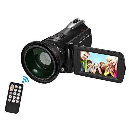 """Andoer HDV-D395 Digital Videokamera DV WiFi 1080P 30fps FHD 24M 18X Zoom mit 72mm 0.39X Weitwinkel + Makro Objektiv   IR Infrarot Nachtsicht + LED Licht   3"""" Touchscreen Gesicht erkennen   Anti-Shake"""