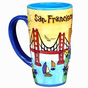 ((50 6/18) CM San Francisco JAVA Coffee Mug Hand Painted Yellow Puff Tall SFMUGOLA With Copyrighted CA Magnet)