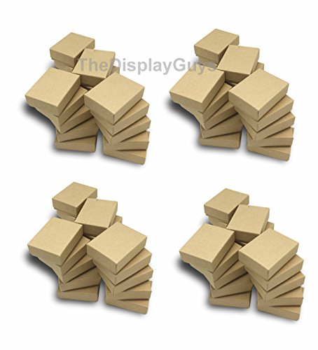 Small Jewelry Gift Boxes - The Display Guys~ Pack of 100 Cotton Filled Cardboard Paper Kraft Jewelry Box Gift Case - Kraft Brown (2 1/8x1 5/8x3/4 inches #11)