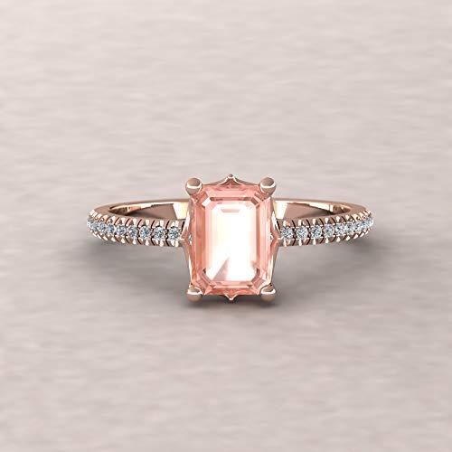 (Morganite Engagement Ring - 7x5mm Emerald Cut Morganite Solitaire