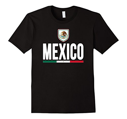 Men's MEXICO T-shirt Mexican Flag Eagle Coat Arms Soccer Football 2XL Black (Mexico Soccer Uniform)
