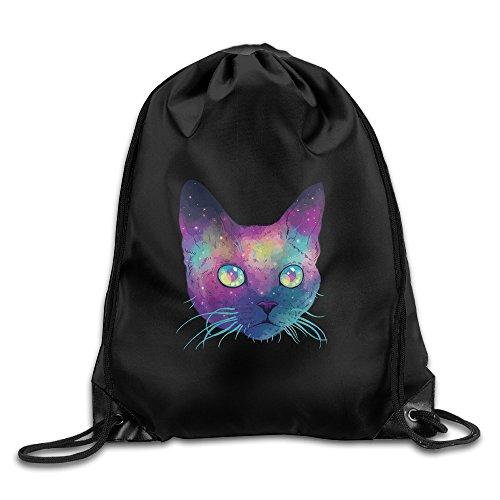 Unisex Amazing Galaxy Cat Sports Drawstring Backpack Bag