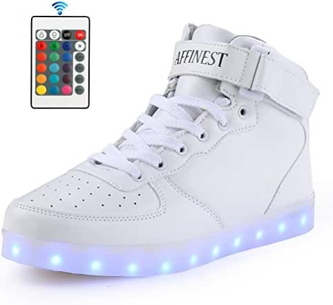 AFFINEST Adult 16 Colors LED Light Up Shoes High Top Fashion Sneakers For Men Women