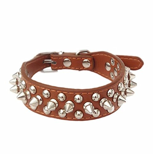 haoricu Pet Collars, Adjustable Leather Rivet Spiked Studded Pet Puppy Dog Collar Neck Strap Small Dogs (S, Brown)