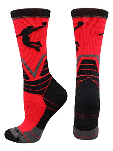 Jordan Basketball Player - MadSportsStuff Basketball Player Victory Crew Socks (Red/Black/Graphite, Medium)