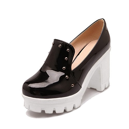 scarpe Alti Nere toe on Round Weipoot tacchi Pompe Delle Pull Solidi Donne BHW0wIZxZq