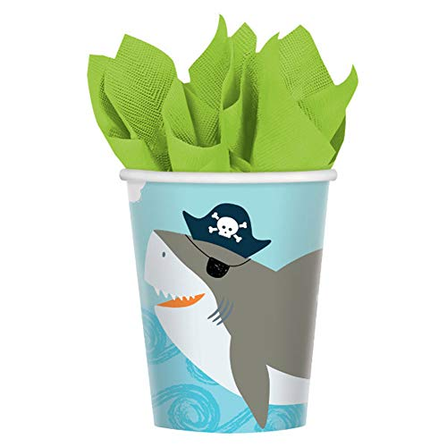 (Amscan Ahoy Pirate Shark Birthday 9 Ounce Paper Cups, 18 Count)