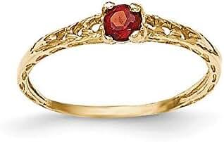 14k Madi K 3mm Garnet Birthstone Baby Ring, 14 kt Yellow Gold, Size 3