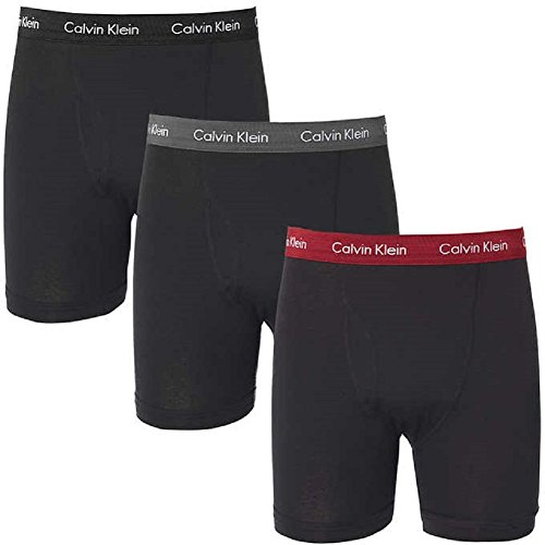 Calvin Klein Men's 3-Pack Cotton Classic Boxer Brief, Medium, black grey/red/black waistband (Names For Two Best Friends)