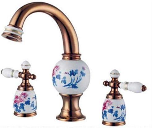 ShiSyan 立体水栓 万能水栓 蛇口流域水栓真鍮セラミックゴールド3つのホールダブルハンドルの浴室のシンクの蛇口の高級Bathbasinバスタブ蛇口ホットコールドミキサー水 混合水栓