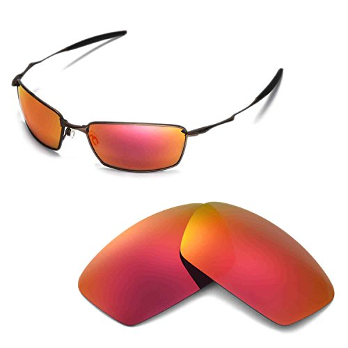 Walleva Replacement Lenses for Oakley Square Whisker Sunglasses - Multiple Options Available (Fire Red Mirror Coated - - Replacement Whisker Lens Oakley