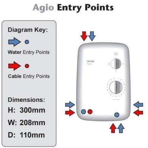 Triton Showers REAGI08WC Agio color blanco Kit elevador de 8,5 kW ducha el/éctrica