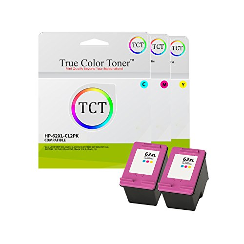 True Color Toner 62XL Multicolor 2 Pack High Yield Compatible Ink Cartridge C2P07AN 62 XL Replacement for HP Envy 5640 5642 5643 5644 5646 5660 7640 7645 OfficeJet 5745 5740 5742 Printers (415 Pages)