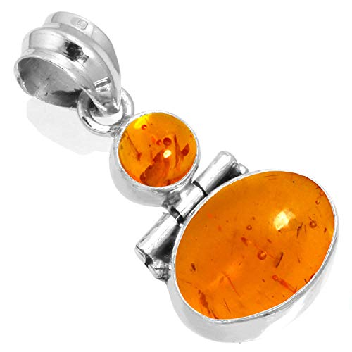 925 Sterling Silver Pendant Amber Handmade Jewelry Amber Sterling Silver Handmade Pendant