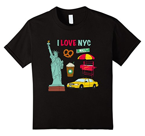 Price comparison product image Kids I Love Heart NYC Statue of Liberty Souvenirs T-Shirt 6 Black