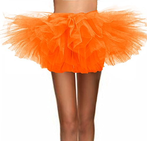 T-Crossworld Women's Classic 5 Layered Puffy Mini Tulle Tutu Bubble Ballet Skirt Orange -