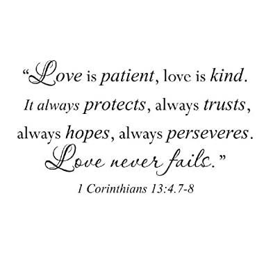 Wall Decal Sticker Quote Vinyl Large Love is Patient Kind Corinthians Bible