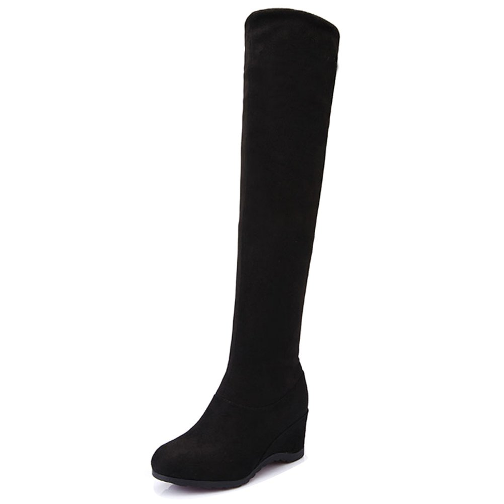 HKR-BJNA81heisemianbu35 Womens Flodable Over The Knee Boots Stretchy Wedges Heel Thigh High Long Booties Black 5.5 B(M) US