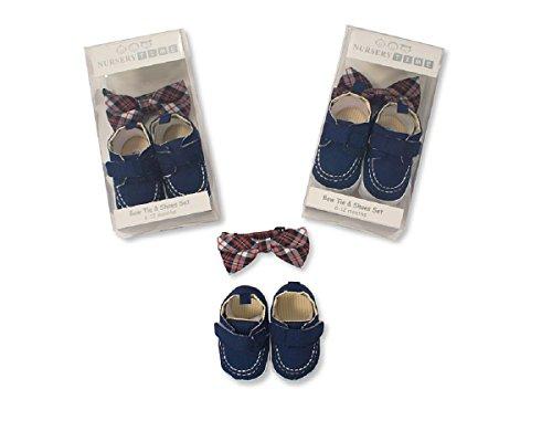 Nursery Time bebé niños azul lazo y zapatos Set Regalo Ideal para los más pequeños azul azul Talla:6-12 meses