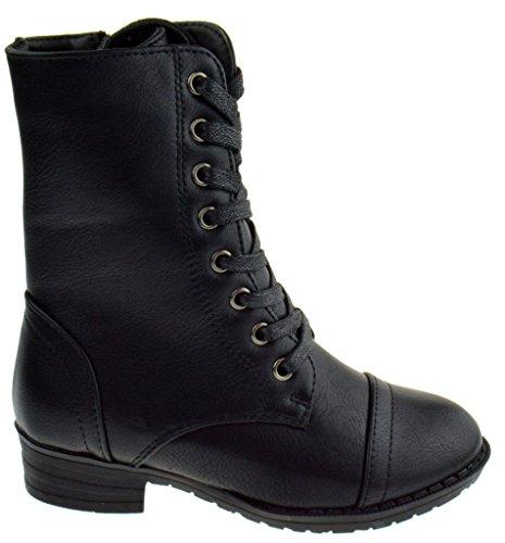 Callie 04F Little Girls Combat Lace Up Boots Black