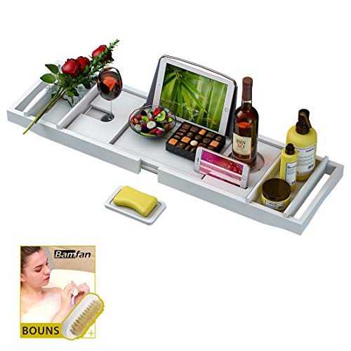 Bathtub Caddy Tray for Luxury Bath – Bamboo Waterproof Expandable Bath Table Over Tub with Wine and Book Holder and Free Soap Dish (White)