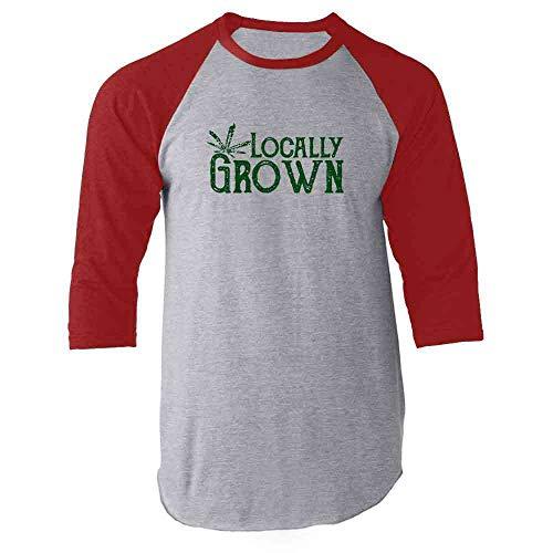 Locally Grown Marijuana Leaf Red M Raglan Baseball Tee Shirt