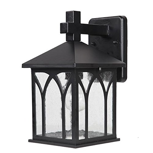 er's Choice Collection 1-Light Wall Mount Outdoor Light Fixture, Matte Black (Aluminum Medium Exterior Wall Mount)