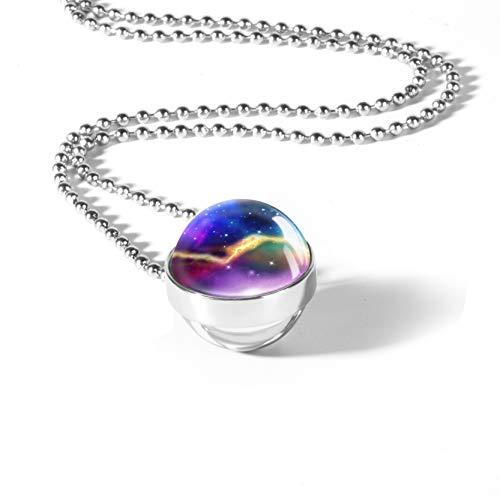 SOULSIS Nebula Necklace Stars Necklace Charm Double-Side Crystal Glass Ball Milky Way Galaxy Pendant Necklace - Crystal Milky