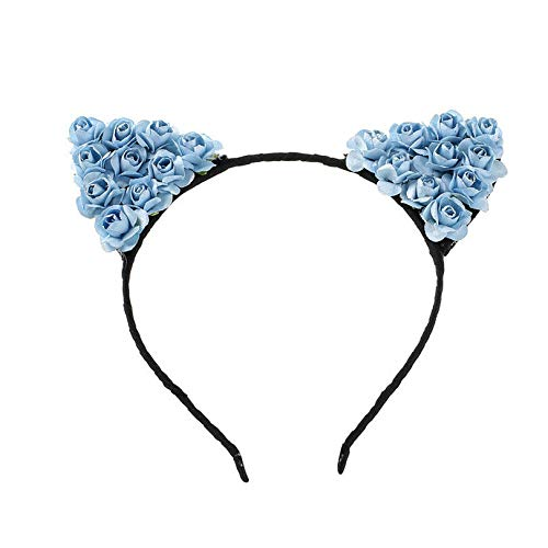 Rose Flower Orecchiette Cute Cat Ears Headband Cosplay Party Costume Halloween (Color - Navy blue) -