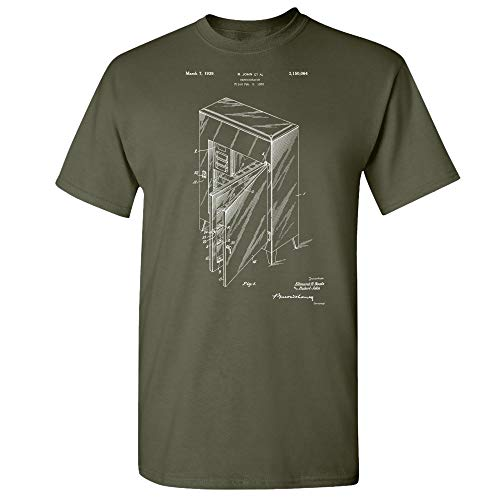 Refrigerator T-Shirt, Ice Box, Fridge Blueprint, Antique Freezer, Refrigeration Unit, Kitchen Appliance, Culinary Gifts Military Green (Medium)