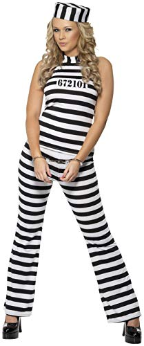 Smiffys Women's Convict Cutie Costume, Top, pants and Hat, Cops and Robbers, Serious Fun, Size 10-12, 33723