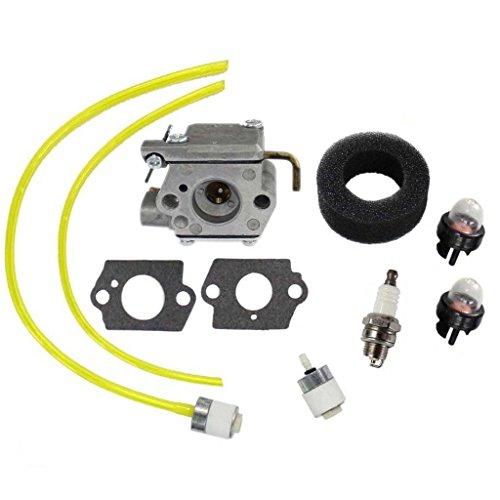 (HURI Carburetor with Gasket Fuel Line Primer Bulb Fuel Filter for Bolens BL100 BL150 BL250 BL410 Yard Man Yard Machines YM70SS 2800m Y28 Y725 YM1000 YM1500 YM320BV YM400 120R 121R)