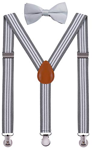 SUNNYTREE Baby Boy's Suspenders Adjustable Y Back with Bow Tie Set 24 inches Gray Stripe