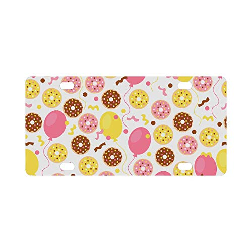 (INTERESTPRINT Sweet Donuts Balloon and Confetti Metal License Plate for Car, Metal Auto Tag Decor)