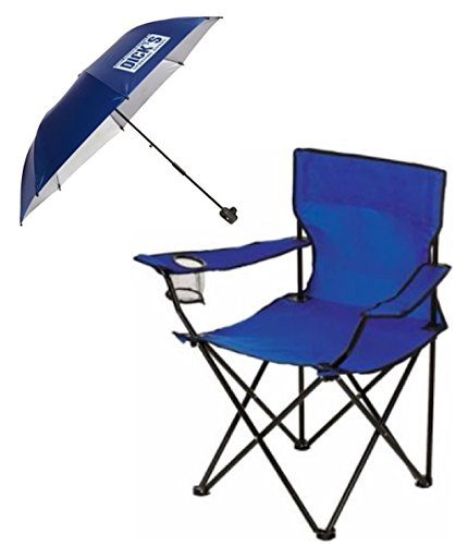 Dicks Sporting Goods Folding Chair With Matching Clamp On Umbrella Shade  Blue