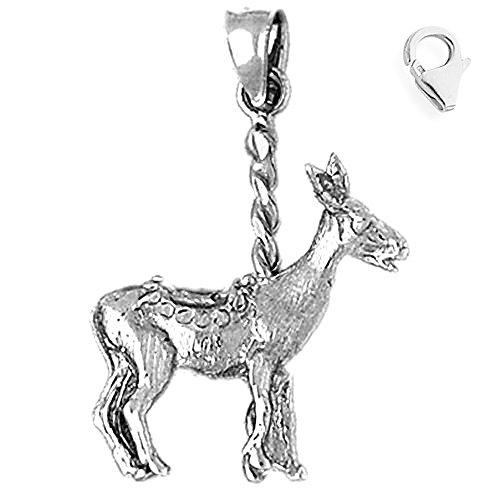 14K White Gold 31mm Carousel Donkey Charm w/ Lobster Clasp (14k Gold Donkey Charm)