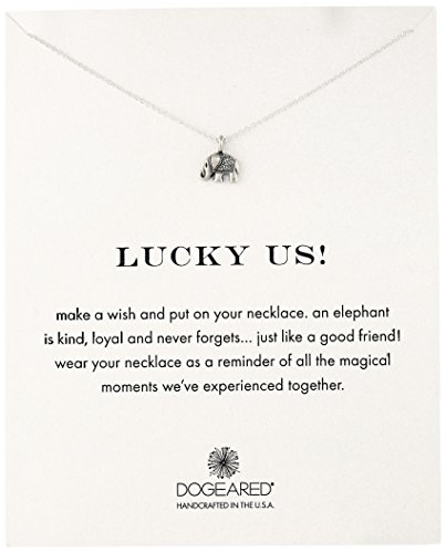 """Dogeared Reminders- """"Lucky Us"""" Sterling Silver Elephant C..."""