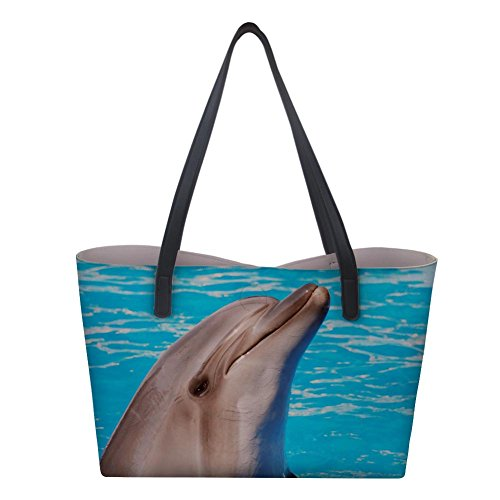 Tote PU Satchels Nopersonality Work Dolphin Handbags Bags for Capacity for Travel Classic Leather Large Women for Girls dIIwOR