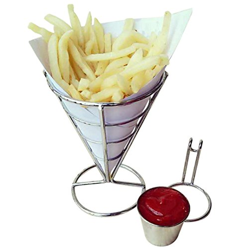 Creazy Chip Stand Holder French Fry Fries Bowl Black Metal Wire Kitchen Metal Fry Stand