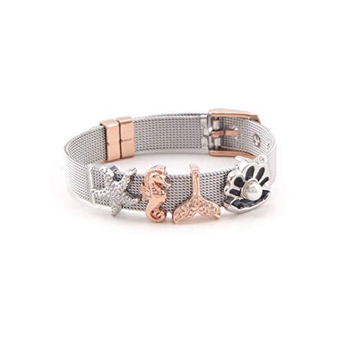 WRABRA&LETS Jewelry Stainless Steel Mesh Bracelets Set with Slide Ocean Series Charms Fine Bracelet Set 1